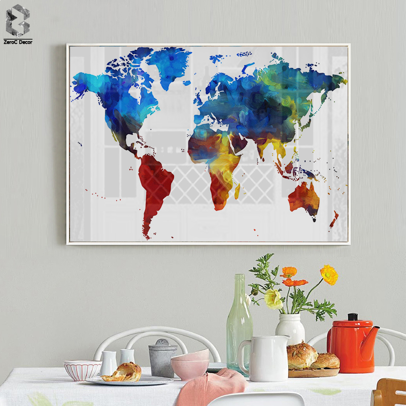 Watercolor World Map Poster Canvas Painting Wall Picture Modern Pastel Colors Of The Art Prints Home Room Decoration
