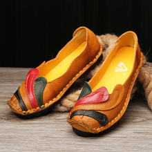 2017 Women Flat Shoes Spring Autumn Genuine Leather Loafers Woman Vintage Handmade Shoes Soft Outsole Shoes ML01