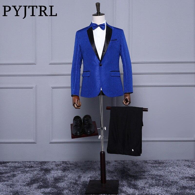PYJTRL Royal Blue Rosso Bianco Jacquard Mens Classico Vestito Sottile Fit Tuxedo Abiti Da Sposa Con Pantaloni Sposo Fase Cantante Costume Homme