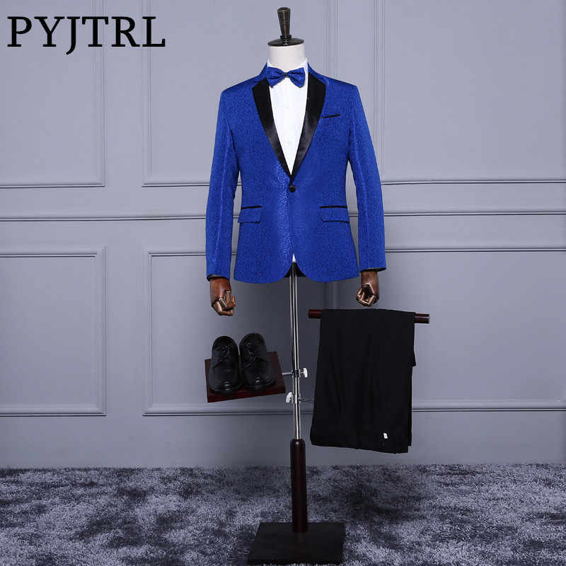 Pyjtrlロイヤルブルーレッドホワイトジャガードメンズクラシックスーツスリムフィットタキシード結婚式のスーツでパンツ新郎ステージ歌手衣装オム