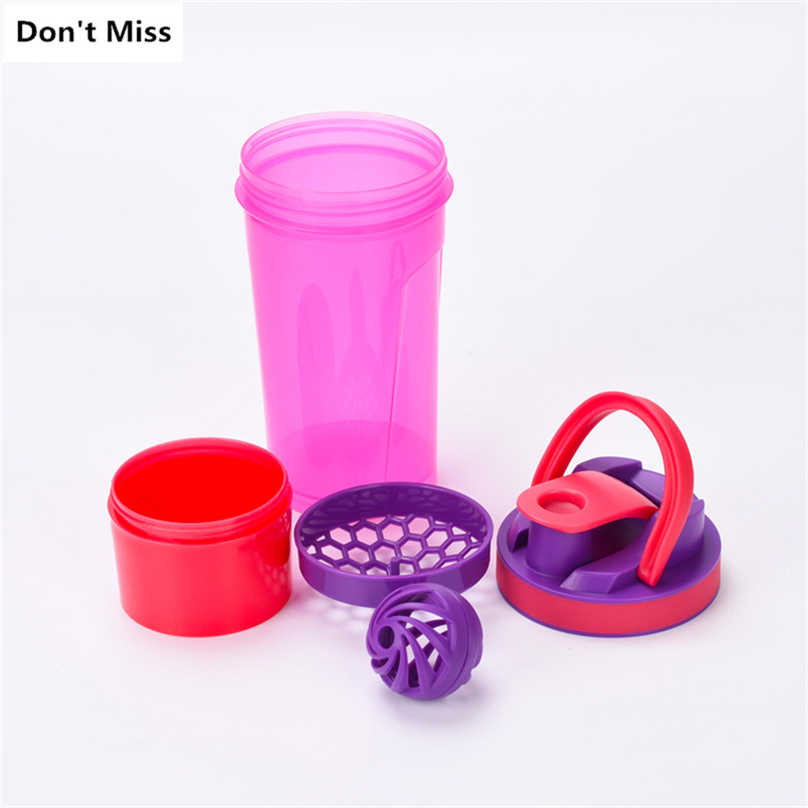 Gadis Hadiah Merah Muda Olahraga Air Botol untuk Hiking Camping Kebugaran Shaker Protein Air Botol Shaker Minuman Portable Shaker Botol
