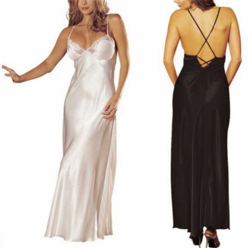 Nightgowns Sexy Nightwear Lace Nightgown Silk Thin Sleepwear Night Dress Ladies Lingerie Homewear Satin Long Sleepdress Women