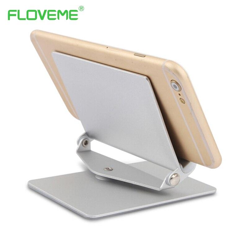 imágenes para Floveme stent de aleación de aluminio de 360 tabletas soporte del sostenedor del teléfono para apple iphone 5S 6 6 splus para samsung s5 s6 edge s7 edge nota 4 5