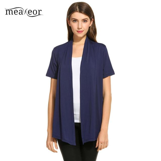 30e64c844 Meaneor Short Sleeve Women Sweaters Open Front Soft Basic Coat Solid Draped  Thin Women Cardigan Casual