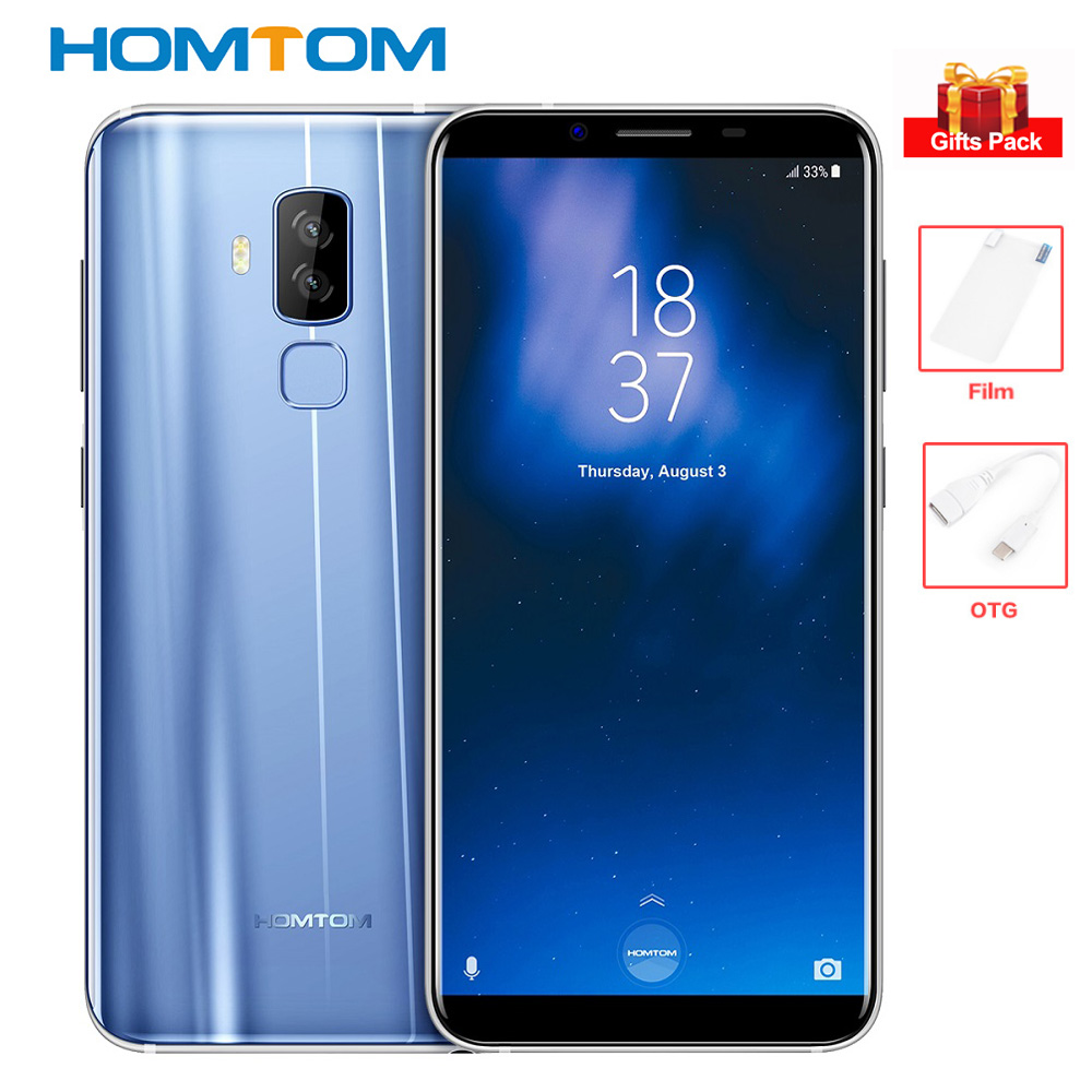 HOMTOM S8 4 gb + 64 gb 4g Smartphone 5.7 ''18:9 5 v/2A 13MP + 16MP cames Octa Core MTK6750T Android 7.0 Téléphone Mobile Empreinte 3400 mah