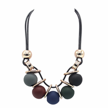 Exaggerated Women Choker Necklace Fashion Beads Necklace for Women Geometric Necklaces & Pendants Statement Collar Rope Chain a suit of graceful geometric beads necklace and earrings for women
