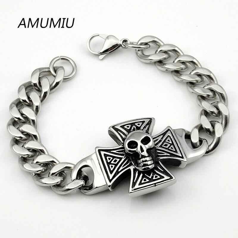 AMUMIU retro link chain skull bracelet top quality men's 316l stainless steel cross jewelry wholesale men's accessories HZB036