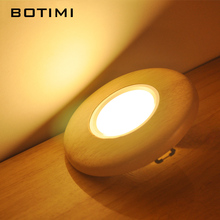 BOTIMI Round Wooden LED Ceiling Lights For Corridor Living Room 220V Office Cutting Hole With Wood Frame Lamp