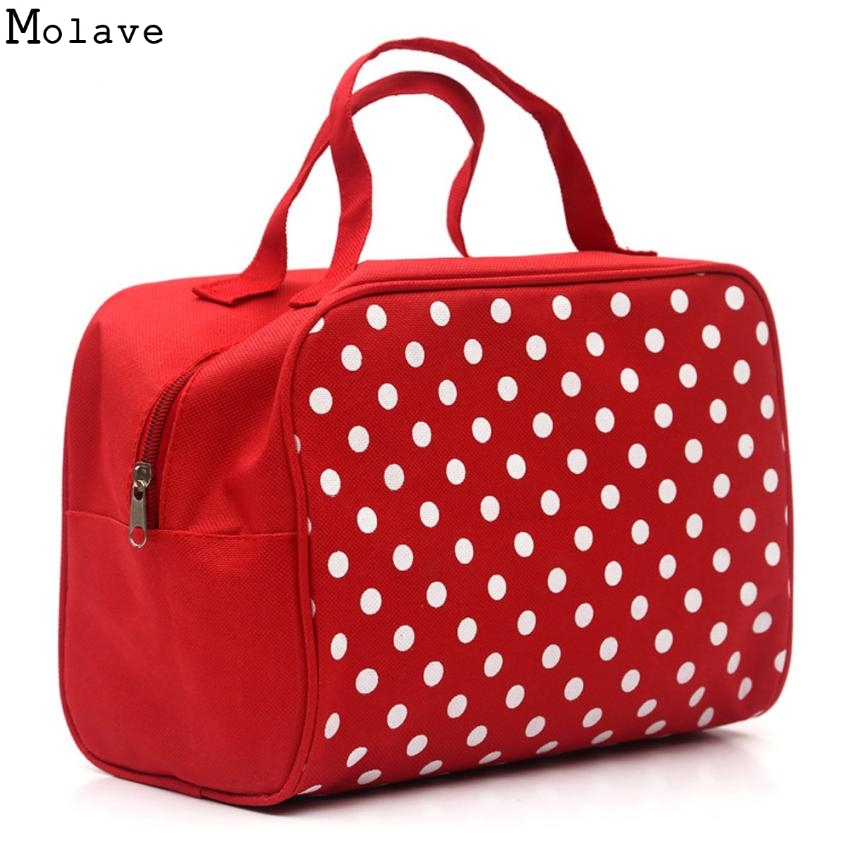 new square dot pu leather portable cosmetic bag travel cosmeticsbag trousse de maquillage