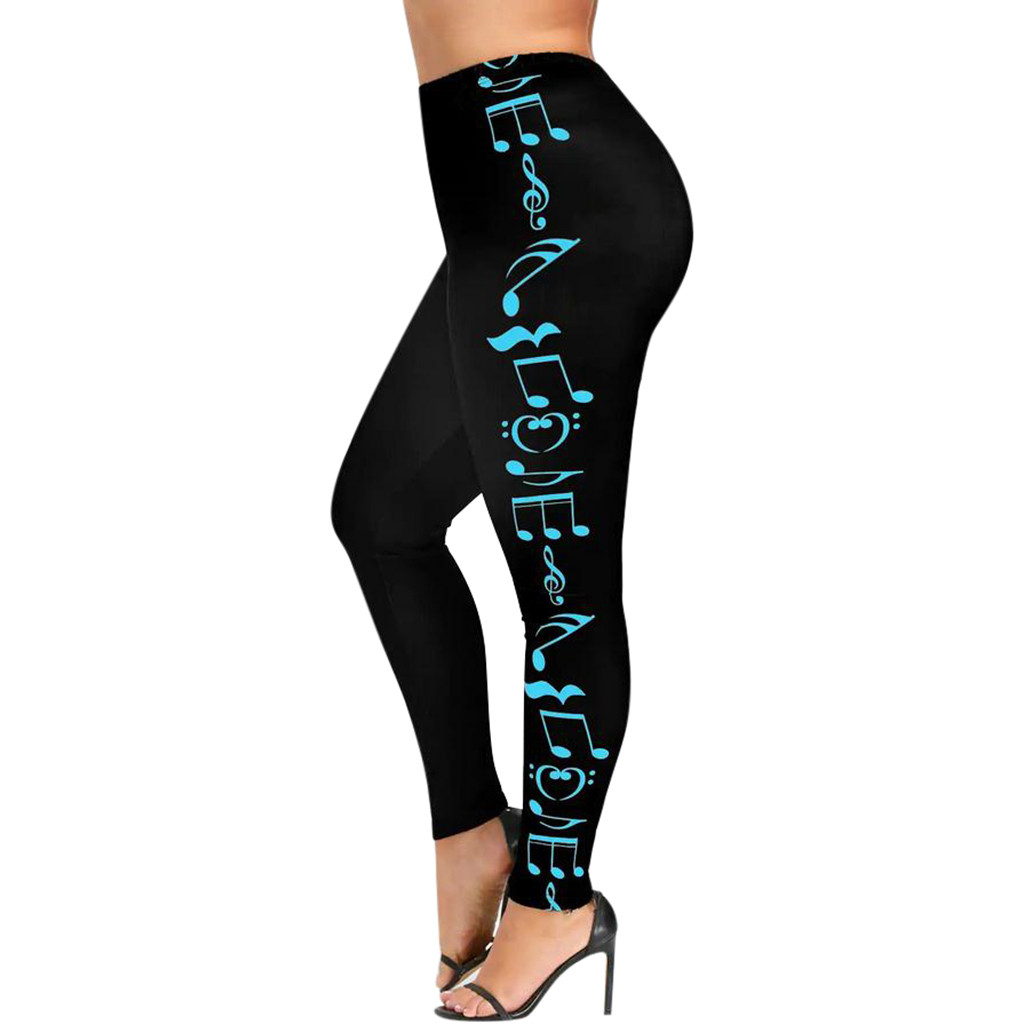 Fashion Women High Waist Plus Size Sport Pants Music Note Trousers Tight Design Attractive Four Season YM