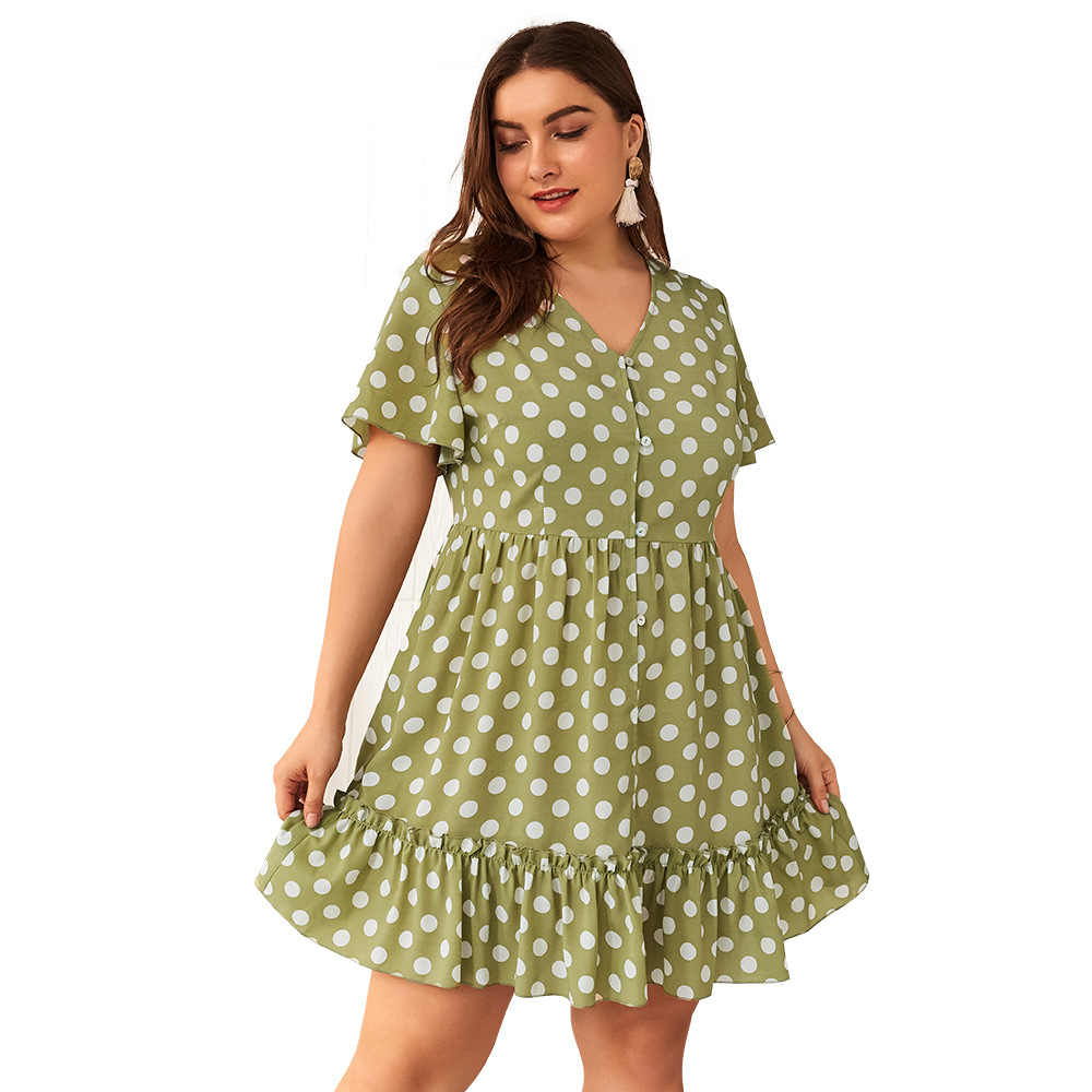 WHZHM летнее платье размера плюс 3XL 4XL в горошек женское платье с коротким Расклешенным рукавом с глубоким v-образным вырезом Плиссированное шифоновое зеленое платье с оборками на пуговицах для девушек