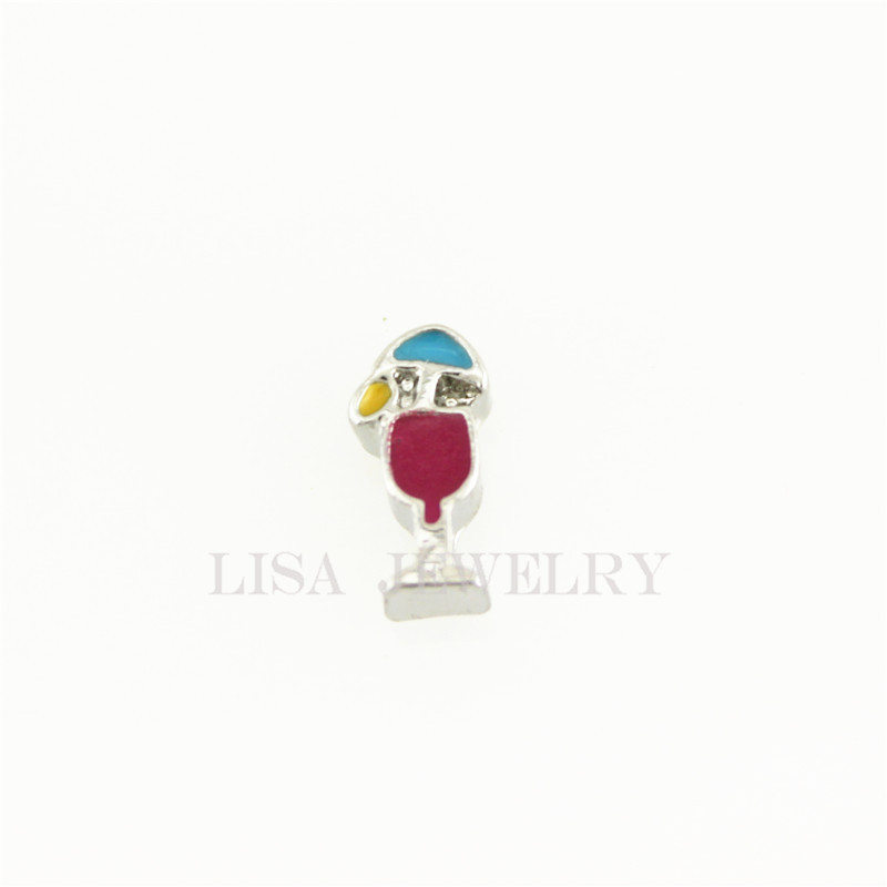 Hot selling silver drink fruit juice cup floating charms living glass memory lockets charms
