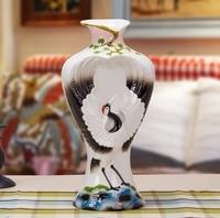 Традиционный китайский Эмаль Фарфор кран ваза декоративная керамика аист кувшин Китай Homeware орнамент Книги по искусству и ремесла подарок