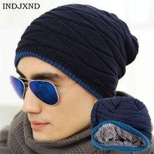 INDJXND, зимняя, унисекс, Skullies, модные шапочки, вязанная кашемировая шапка, хит, мужская, женская, черная, одноцветная, эластичная, хип-хоп шапка, теплая