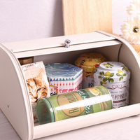 Durable Bread Box Rustproof Storage Pastry Roll Top Home Kitchen Iron Decorative Retro Non Slip Base Cake Practical