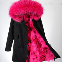 Fur Parkas For Women Winter Army Green Wadded Coat Large Natural Real Fur Collar Thick Jacket