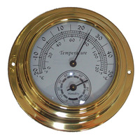 10cm Dial Brass Case Thermometer Hygrometer -0C ~ 50C Wall Mounted