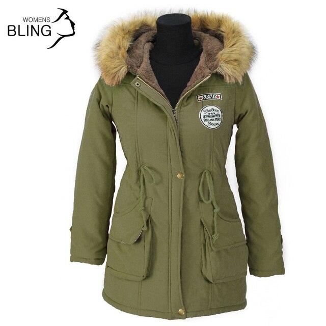 Зимой Тепло Пальто Куртки 2016 Мода Искусственного Меха С Капюшоном Воротник Повседневная Длинные Парки Хлопок Ватные Laidies Пальто