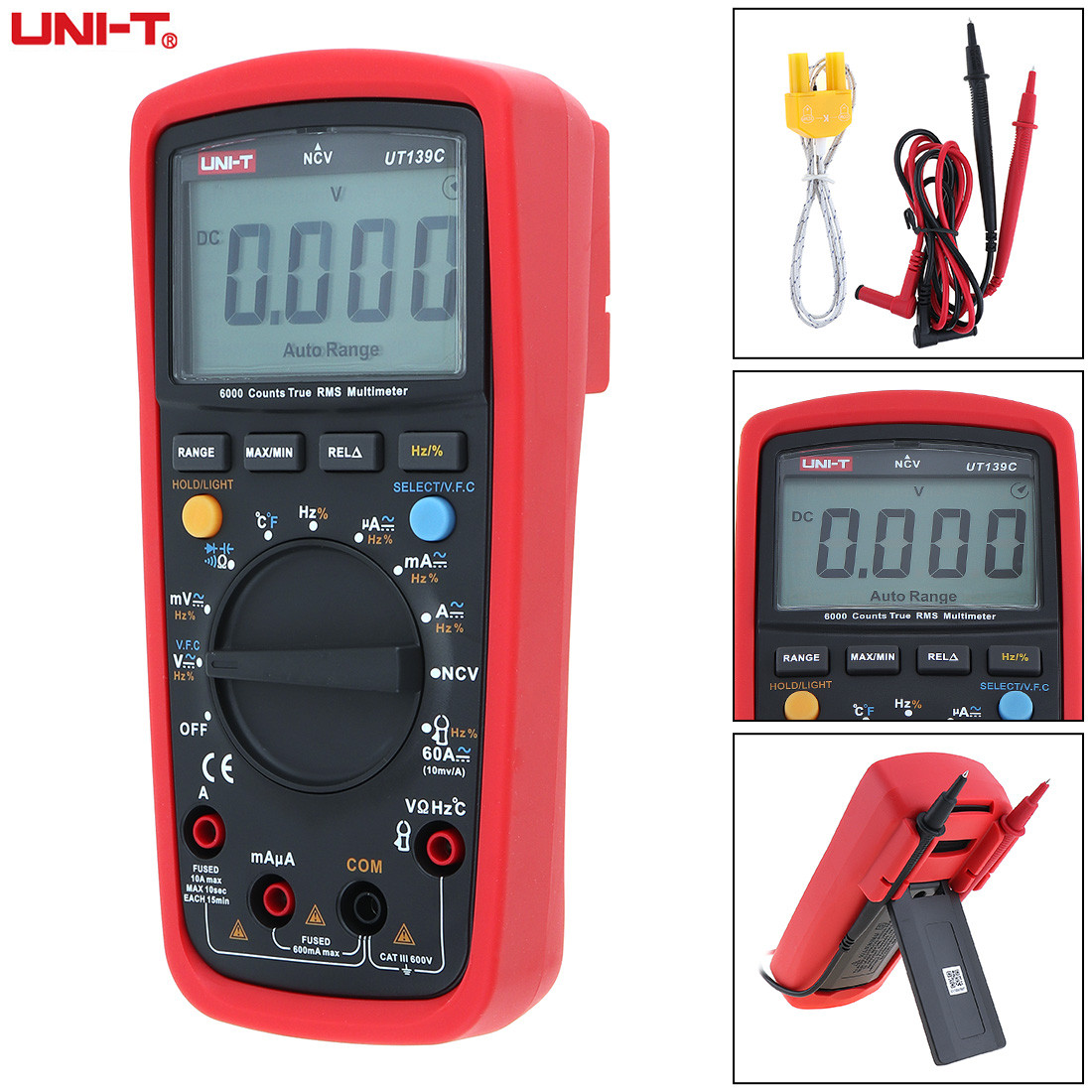 UNI-T 5999 Counts Digital Multimeter Voltmeter Ammeter LCD Display True RMS AC DC Voltage Current Tester Multi Meter Backlight