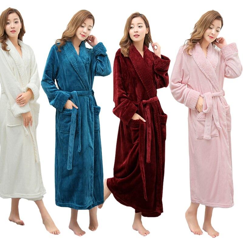 ab4f9cc1ad On Sale Women Winter Super Soft Warm Plus Long Bath Robe Lovers Plush Kimono  Bathrobe Men