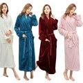 Venta caliente de Las Mujeres Super Suave Caliente del Invierno Largo Albornoz Amantes Albornoz Kimono Hombres Bata Batas de Novia de la Boda de dama de Honor