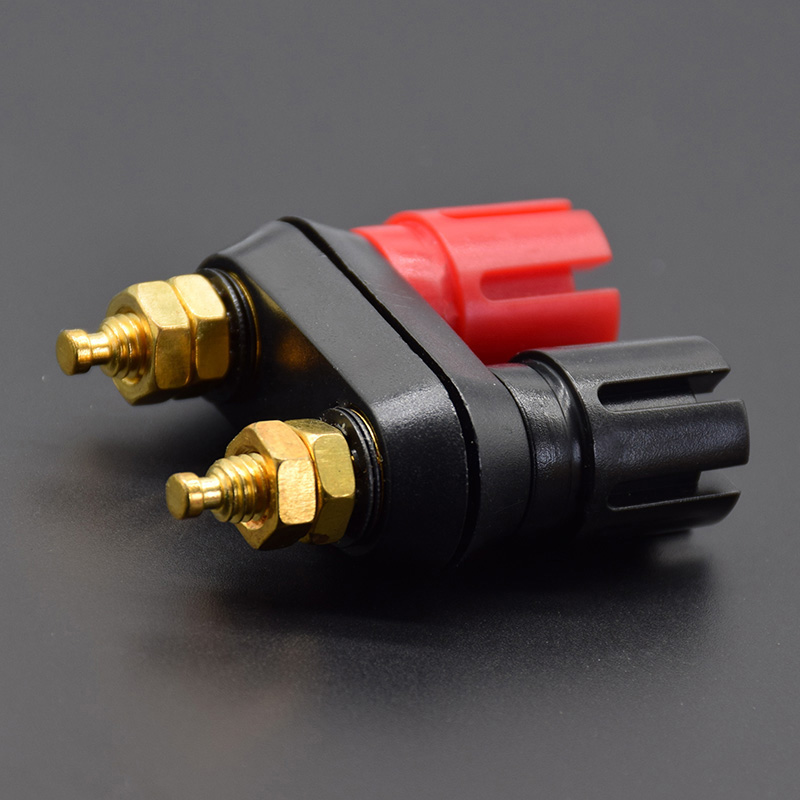 Banana Plugs Couple Terminals Dual 4mm Banana Plug Jack Socket Double Hexagon Binding Post Red Black Connector Amplifier DX25