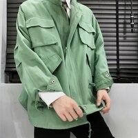 Mens Stand Collar Loose Jacket Retro Military Coat Oversize Outwear Fashion Safari Style Coats Plus Size M 5XL C34