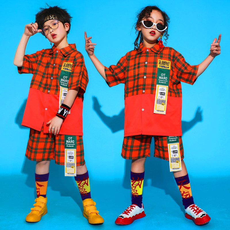 Nouveaux enfants Hip Hop Plaid chemise + pantalon danse Costume garçons rue danse vêtements filles Jazz enfants danse Hip Hop vêtements VDB092