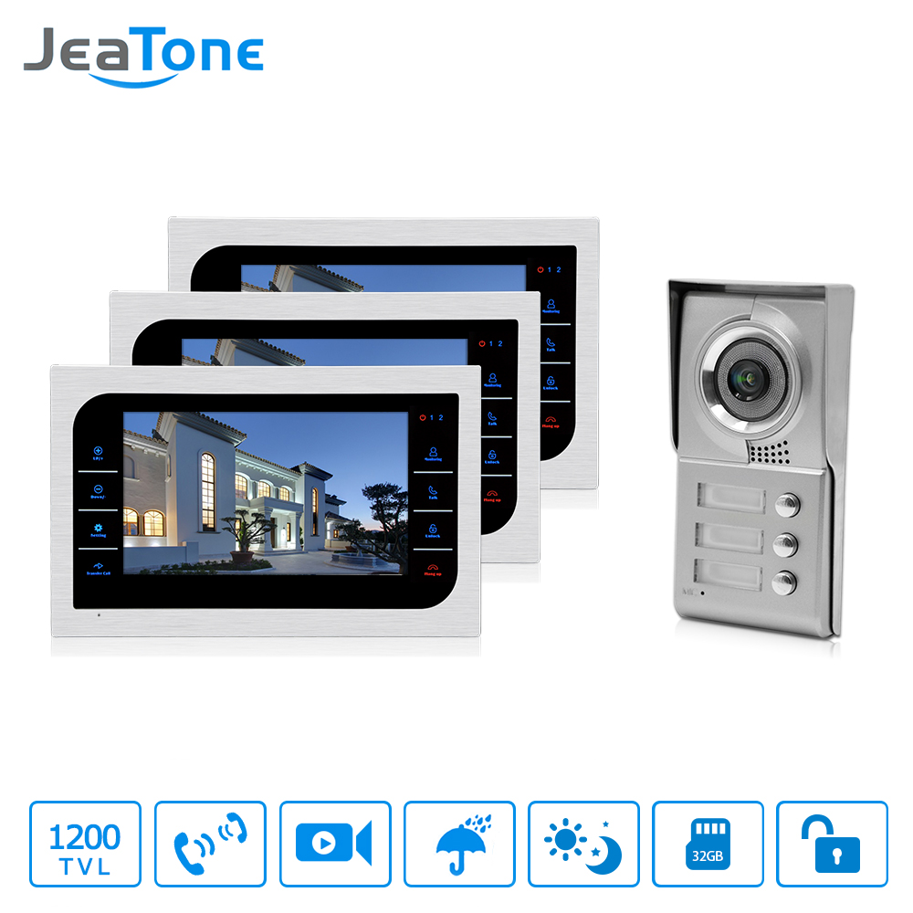 JeaTone Home Security Video Intercom System 10 LCD Video Door Phone Touch Key Panel IR Home Video Doorbell For 3-Apartments jeatone 7 lcd monitor wired video intercom doorbell 1 camera 2 monitors video door phone bell kit for home security system