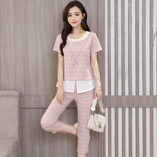 Fashion Plaid Summer New Top&pants Set Elegant Temperament Thin Two Piece Sets Feminina Classical Office Work Women's Suit