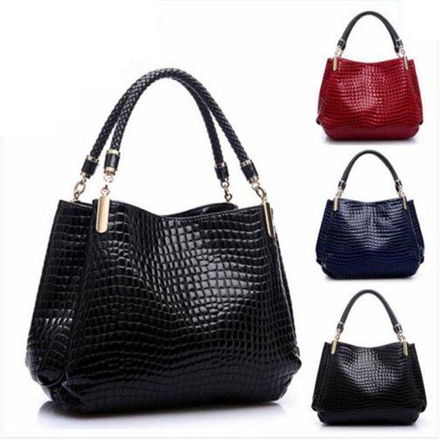 2538bd487884 Popular handbag crocodile grain pu leather euramerican fashion bag handbag  stone grain leisure travel bag women bag