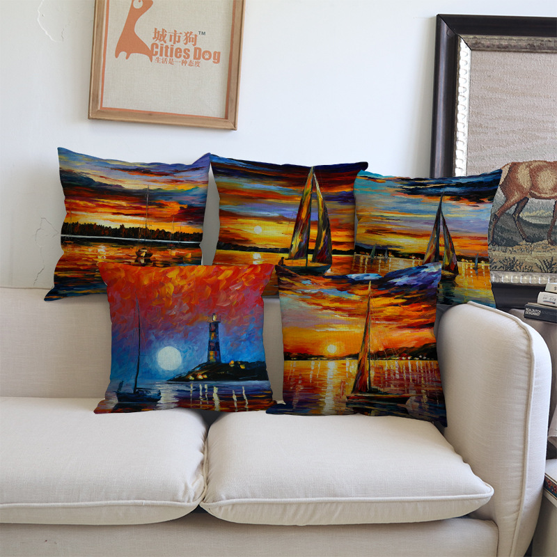 Oil Painting Cushion Cover nightscape city boat the setting sun art Pillow Case Home Decoration living room sofa chair seat gift