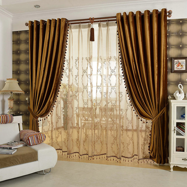 Luxury Curtains Solid Flannel Curtains Ready Made With ...