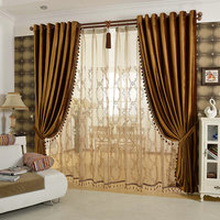 Luxury Curtains Solid Flannel Curtains Ready Made With Braids Colorful Beige/ Brown /Golden /Purple Beads Included
