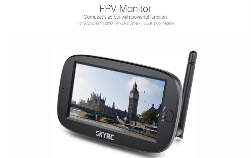 SkyRC 4.3″ LCD 5.8G 40Ch FPV Monitor 2-In-1 Wireless Receiver for RC Quadcopter F22185