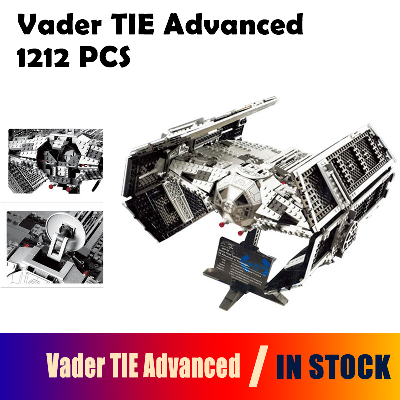 Model Building Kit 05055 1212Pcs Vader TIE advanced fighter aircraft Blocks Bricks Compatible with lego 10175 Children dhl lepin 05055 star series military war the rogue one usc vader tie advanced fighter compatible 10175 building bricks block toy