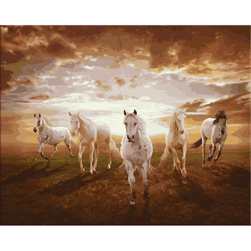 DIY Digital Painting By Numbers Package Steppe horse oil painting mural Kits Coloring Wall Art Picture Gift frameless