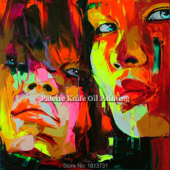 Hand painted Francoise Nielly Palette knife portrait Face Oil painting Character figure canva wall Art picture for living room29