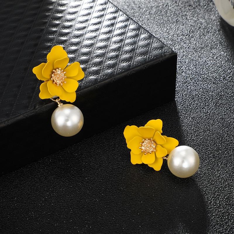 HuaTang Bohemian Yellow Flower Pearl Dangle Earrings for Women Girl elegant Simulation Pearl Drop Earring Jewelry Oorbellen 8071 in Drop Earrings from Jewelry Accessories