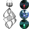 2Pcs Hottest Courtyard Decoration Solar Light Color Changing Solar Powered Wind Spinner Hanging Spiral Led Solar Light Outdoor