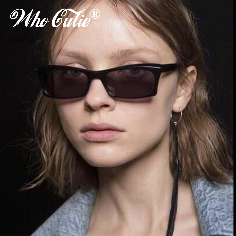 f33719dd5a WHO CUTIE 2018 Small Rectangle Sunglasses Women Brand Designer Men Retro  Vintage Narrow Skinny Rectangular Frame Sun Glasses 602-in Sunglasses from  Apparel ...