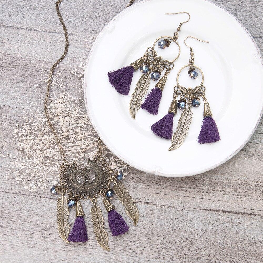 DoreenBeads Tassels necklace vintage purple rhinestone Bohemia tassels pendant necklace women bronze golden tassel earrings ...