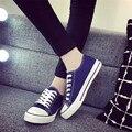 Chegada nova Mulheres Estrela Lona Clássico Sapatos Casuais Zapatillas das Mulheres Dedo Do Pé Redondo Apartamentos Zapatos Mujer