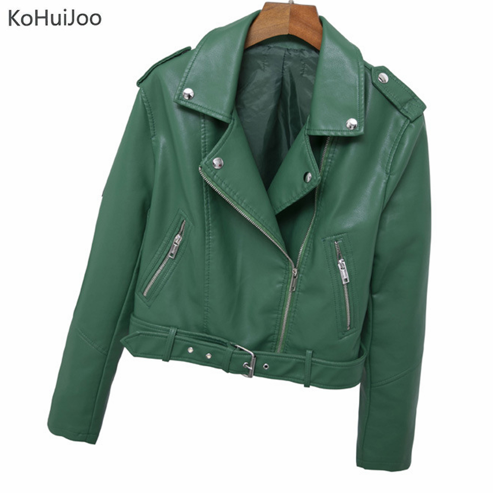 Green Red Black Short Leather Jacket for Women 2019 Cclassic Lapel Belted Ladies PU Leather Coat Zipper Bomber Biker Jackets