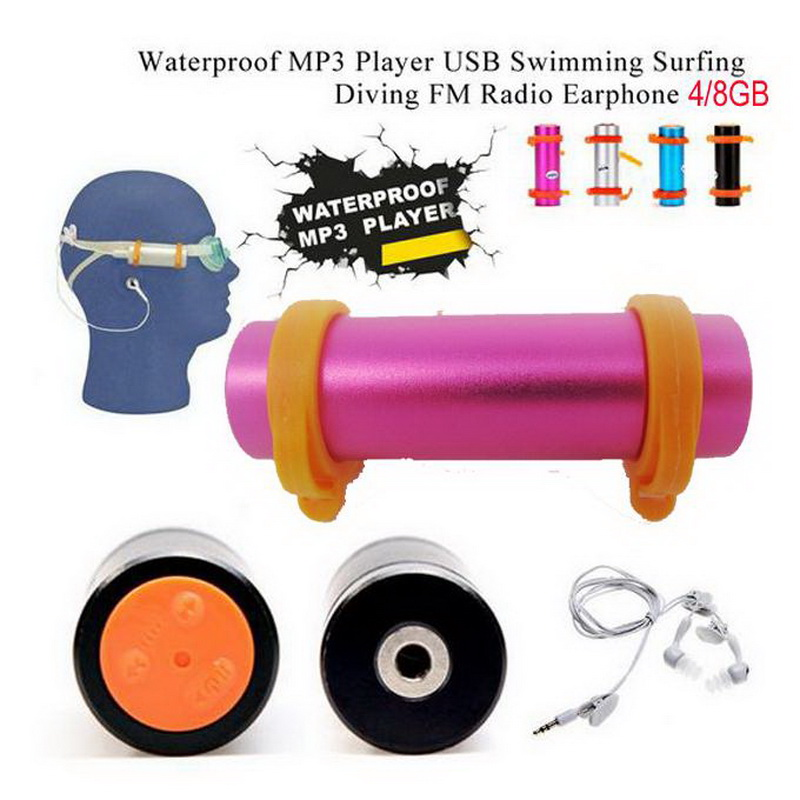 Free shipping Sports Music 8GB IPX8 Waterproof MP3 Player 8G Swimming Diving with FM Radio USB