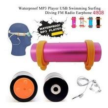 Envío libre Deportes Música 8 GB IPX8 Impermeable Reproductor de MP3 8G Natación Buceo con Radio FM USB Cable de Carga la Marca del brazo
