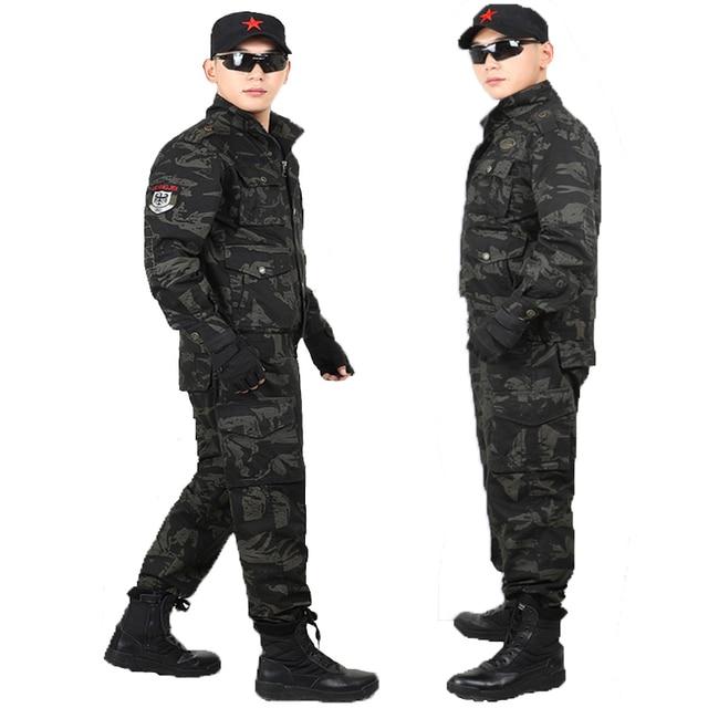 Vestiti Da Caccia Camuffamento Giacca Pantaloni Tute da uomo Esercito  Militare Tattico Speciale Soldato Commando US 511b8893c387