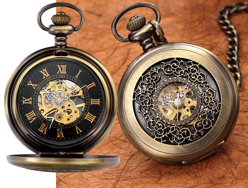 Кварцевые стальные карманные часы с позолотой, минеральное стекло, цепочка в комплекте.