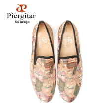 PIERGITAR handcraft  men fabric shoes with world map printing UK design casual smoking slippers Party dress loafers men's flats