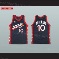 embotionen Reggie Miller #10 USA White/Dark Blue Retro Throwback Stitched Basketball Jersey Shirt